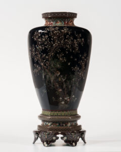 Large Cloisonne Vase and Stand, Japan, Hayashi workshop. Sold for $9,840 on September 14, 2019