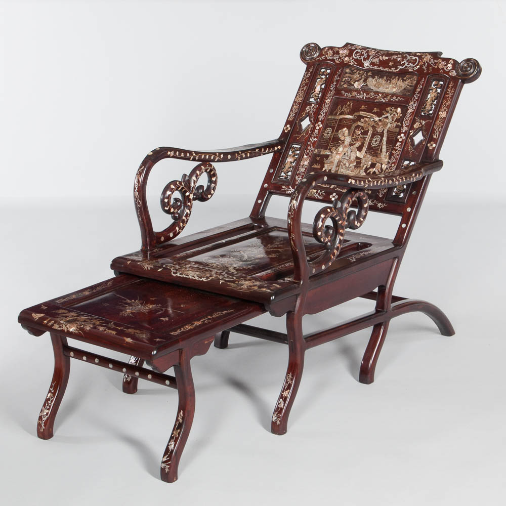 Mother-of-pearl-inlaid Moon-viewing Chair, China (Lot: 1031, Estimate: $1,500-2,000)