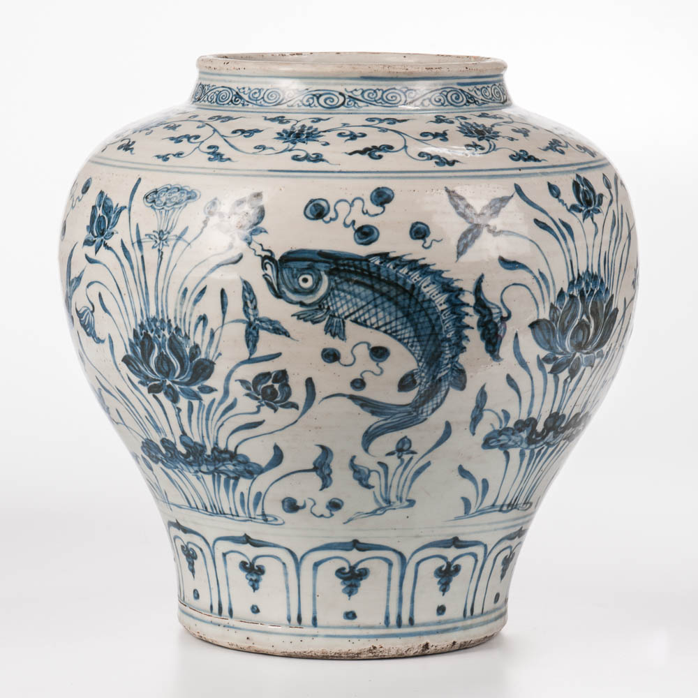 "Large Blue and White ""Guan"" Jar, China, Yuan dynasty style (Lot: 1034, Estimate: $700-900)"