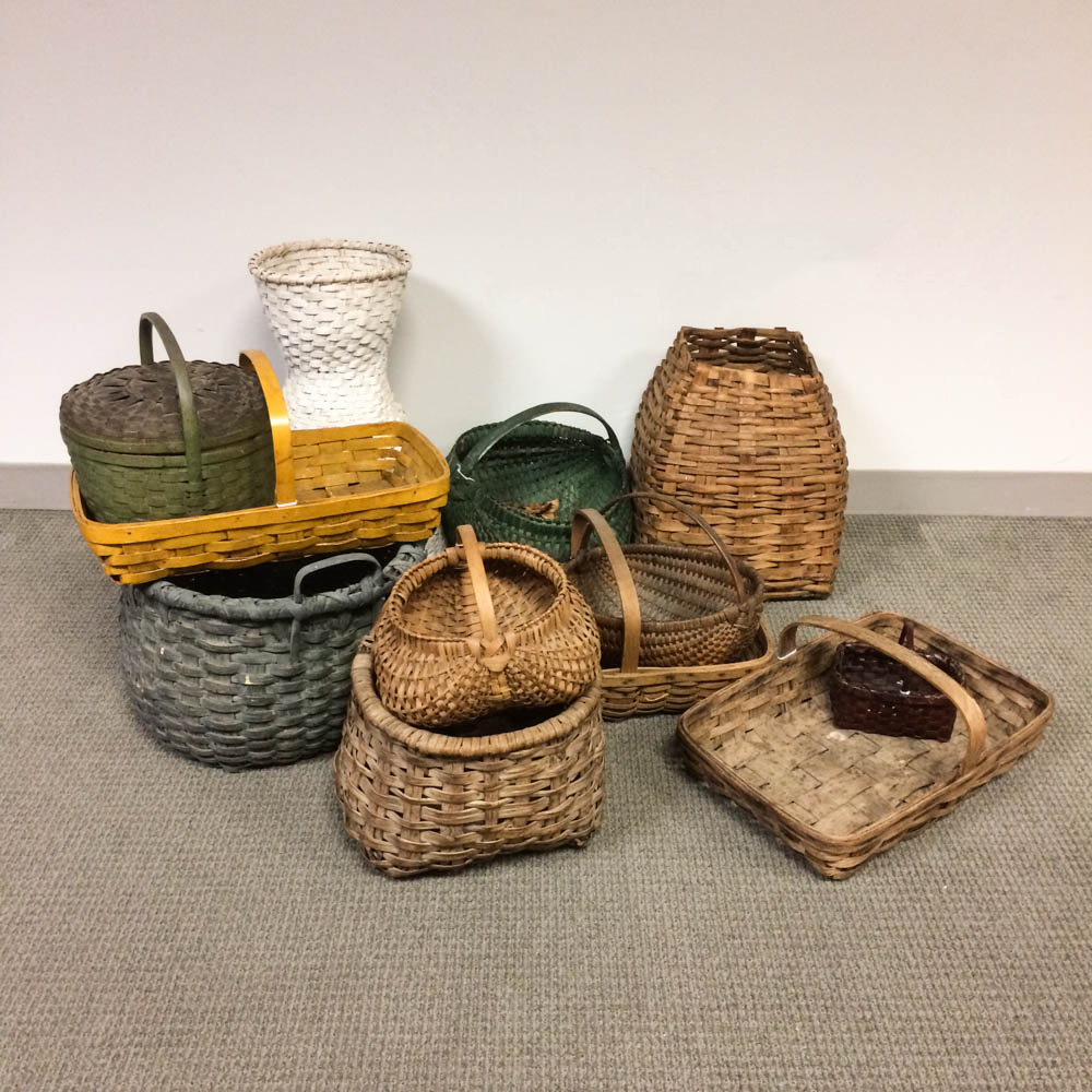 Twelve Mostly Painted Woven Splint Baskets (Lot: 1037, Estimate: $600-800)