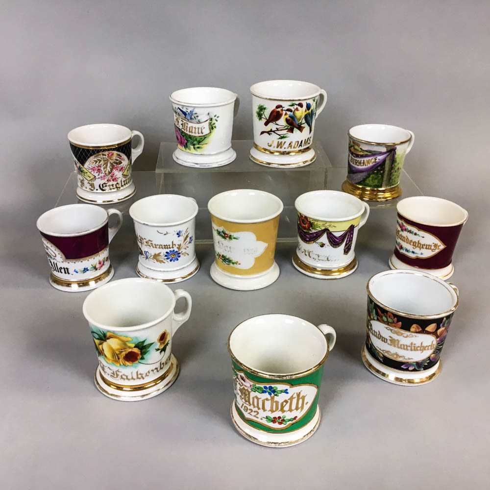 Twelve Floral-decorated Porcelain Shaving Mugs (Lot: 1402, Estimate: $200-400)