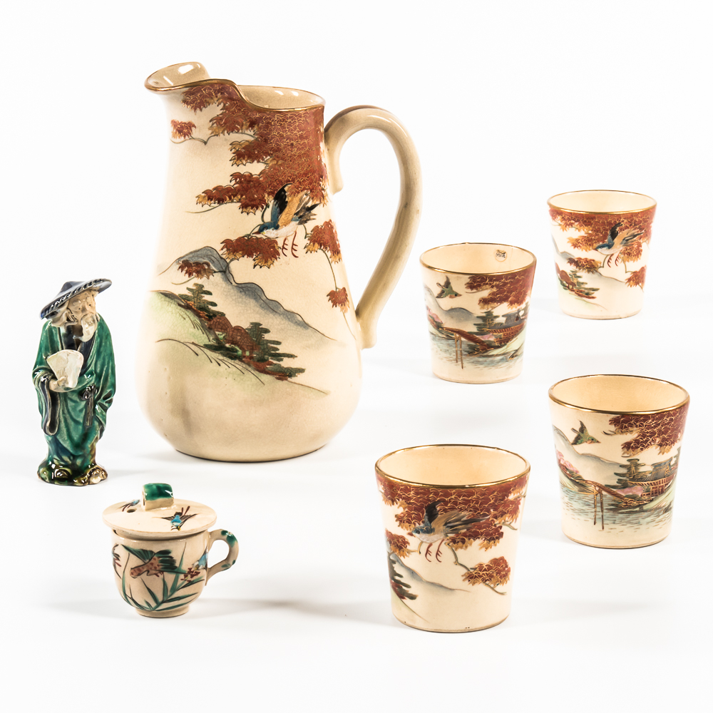 Seven Ceramic Items, Japan, a five-piece set of Satsuma pitcher and cups (Lot: 1300, Estimate: $100-200)