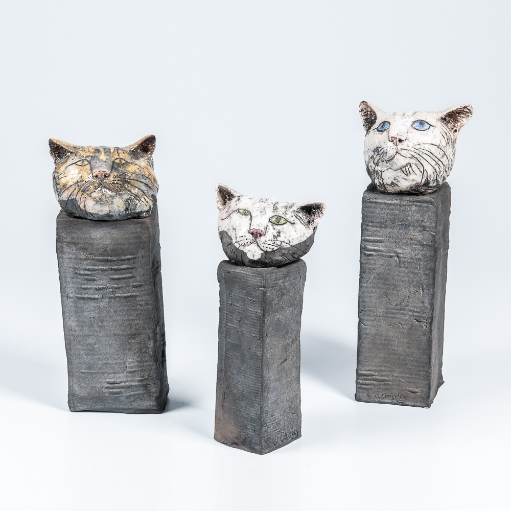 Three Jill Crowley Ceramic Cat Sculptures (Estimate: $200-400)