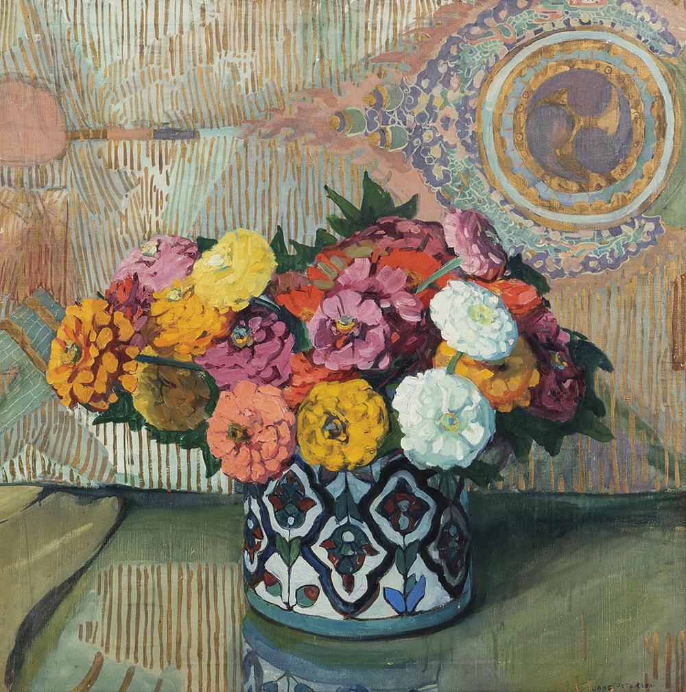 Still life painting of a bouquet of Zinnias in a decorated bowl