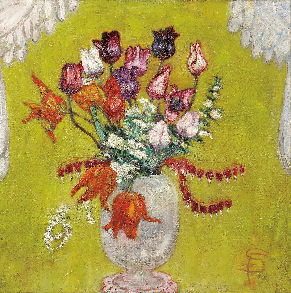 Still life painting of a bouquet of flowers