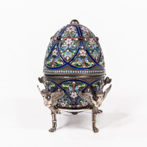 Silver and enameled egg box