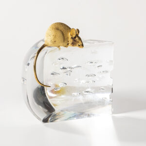 Steuben glass cheese-shaped paperweight with a gold mouse