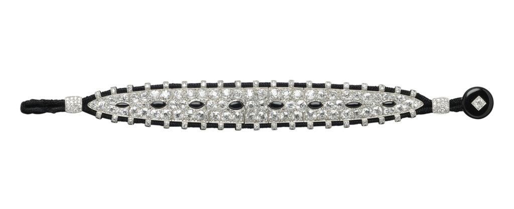 Cartier Art Deco Platinum, Diamond and Onyx Bracelet