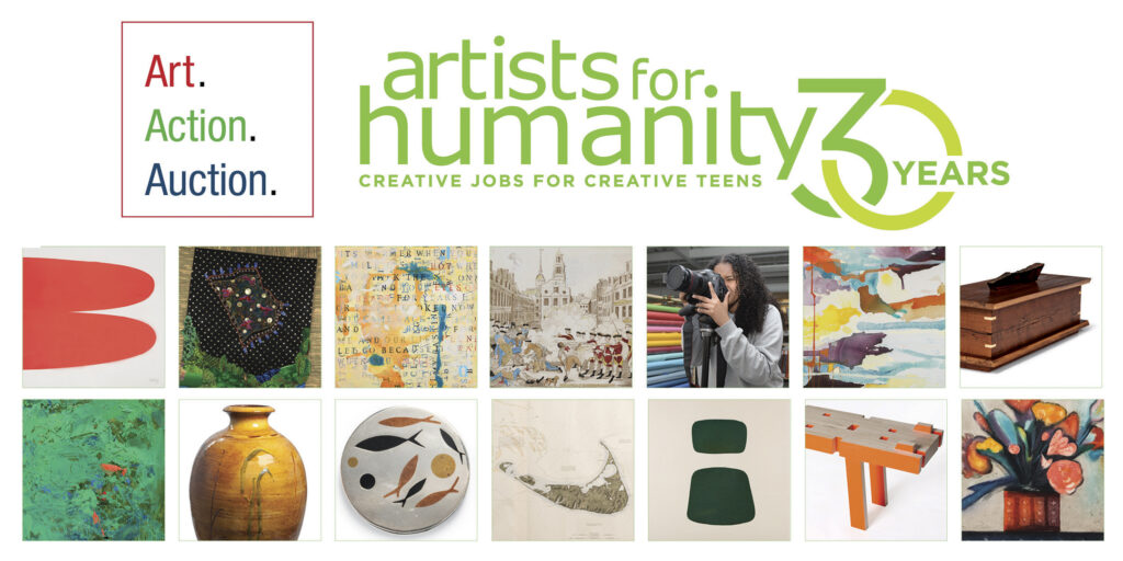 Artists For Humanity logo and tiles of auction lots
