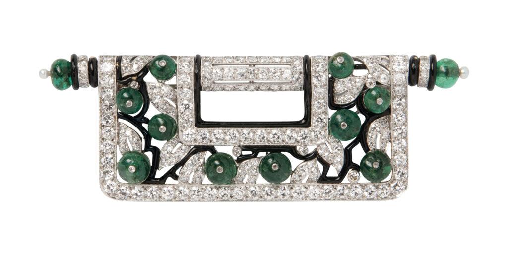 Art Deco Platinum, Diamond, Emerald and Enamel Brooch