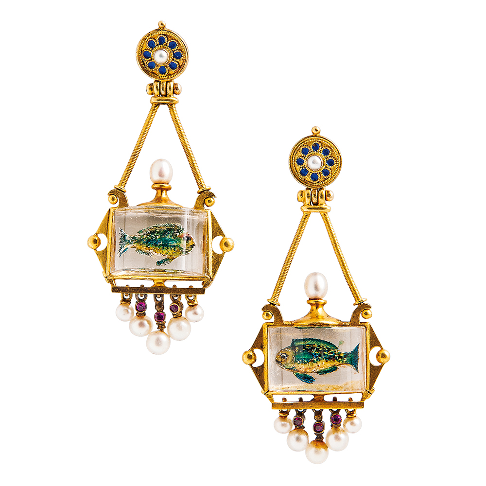 Gold hanging earpendants with painted fish crystal
