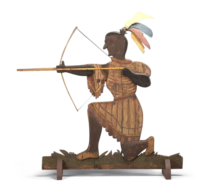 Polychrome Carved Pine and Tin Indian Weathervane,
