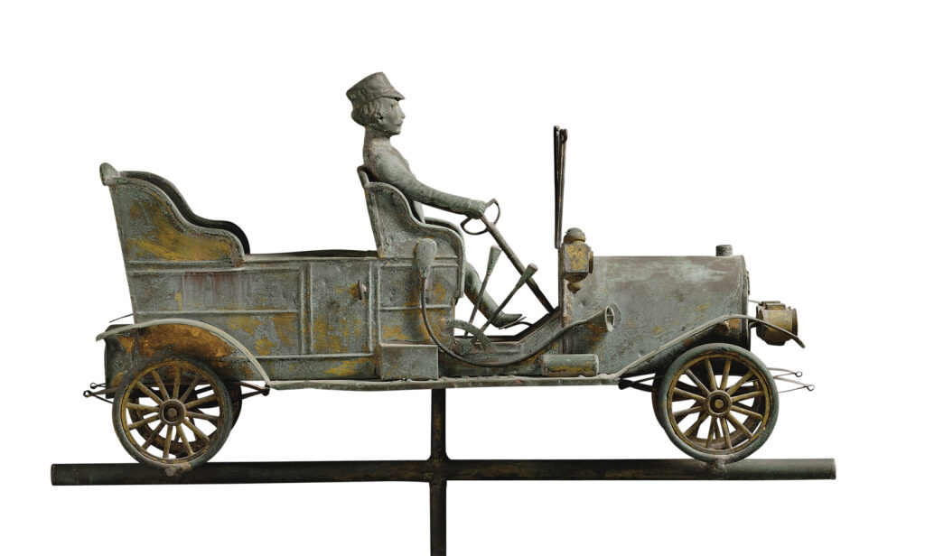 Gilded Molded Copper Touring Car with Driver Weathervane