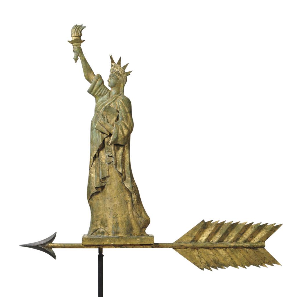 Rare Copper Statue of Liberty on Arrow Weathervane