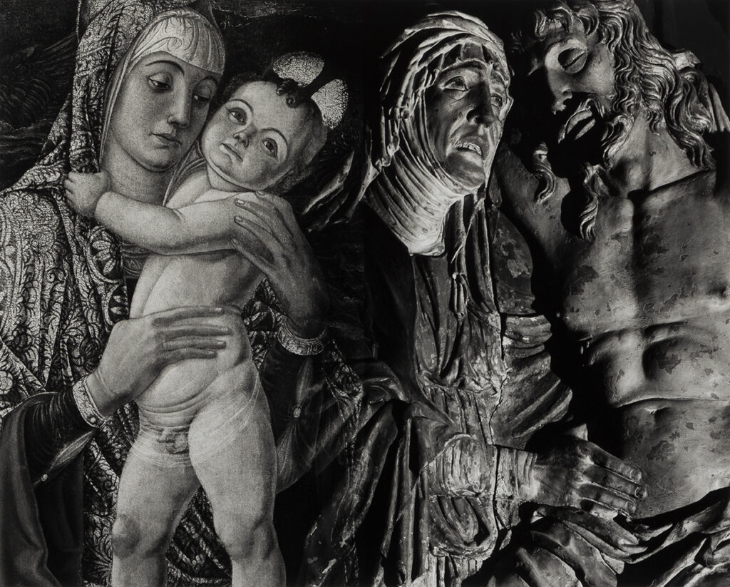 Abe Morell's photograph Mother and Son, Gardner Museum, showing a painting of a mother and baby on the left, and on the right a sculpture of Mary and Jesus.