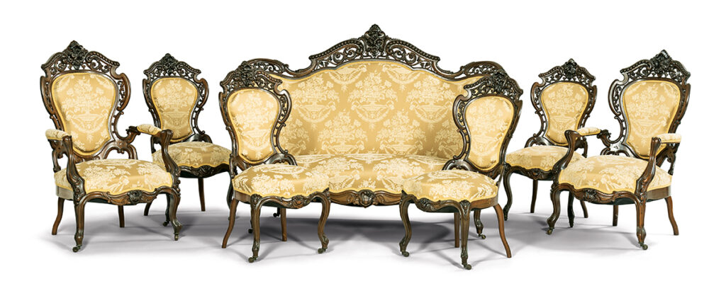 7 pieces of J. & J.W. Meeks Stanton Hall Pattern Rosewood Seating, including 6 chairs and one sofa.