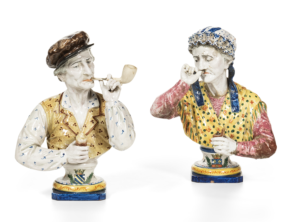 Faience Pottery Character  Busts of a Smoking Couple