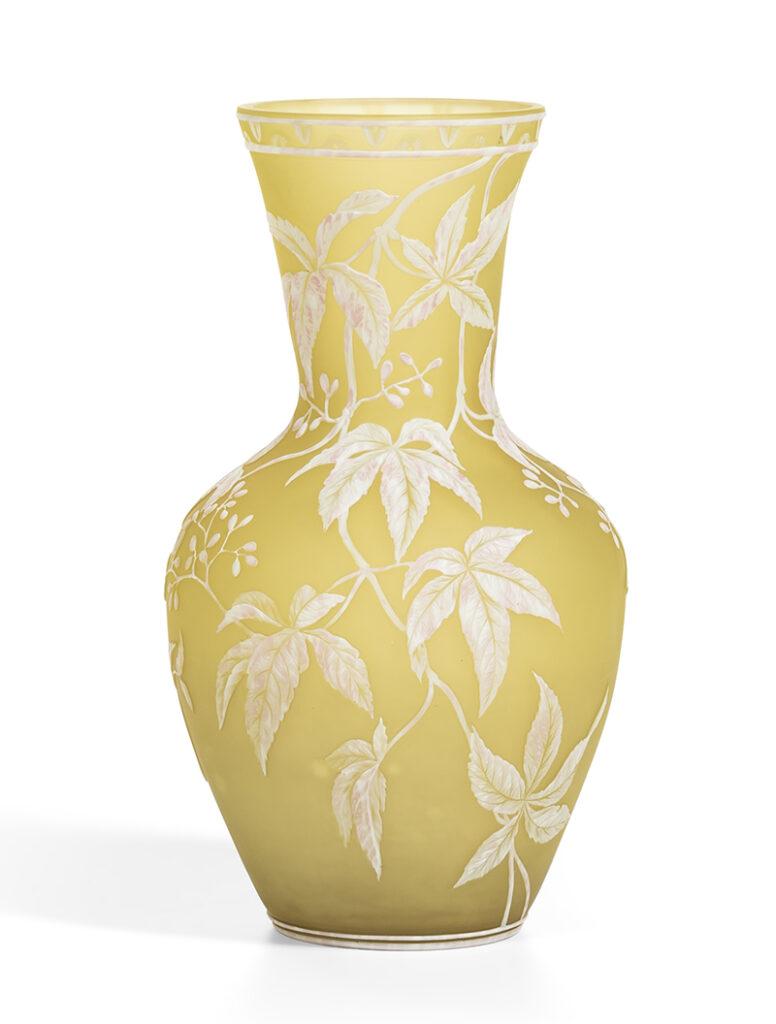 Thomas Webb & Sons Cameo Yellow Glass Vase