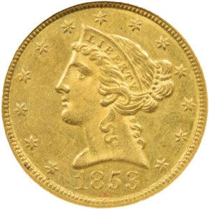 1853-C Liberty Head Half Eagle