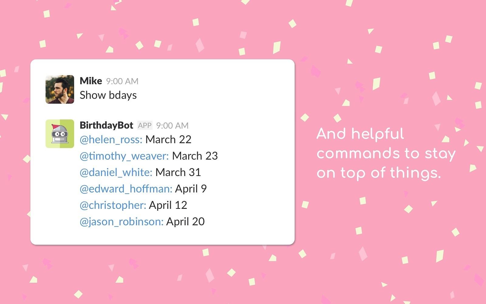 Birthdaybot Slack App Directory
