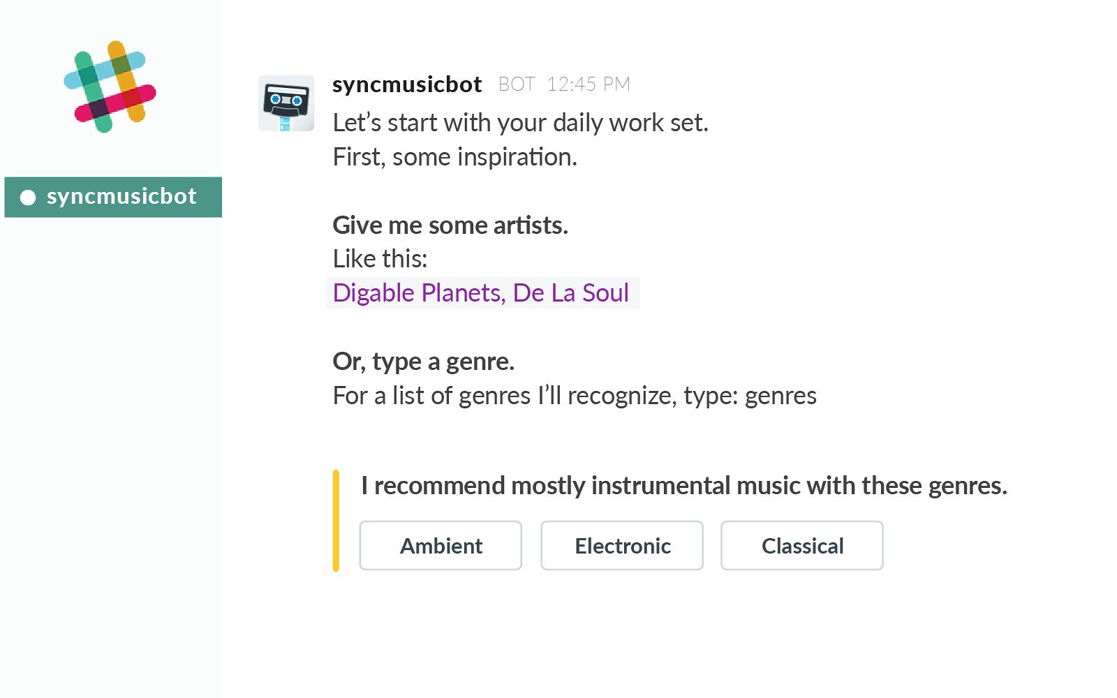 SyncMusicBot | Slack App Directory