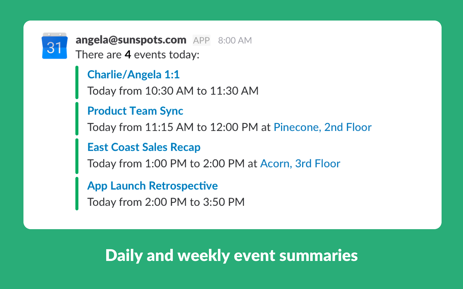 Google Calendar for Team Events | Slack App Directory