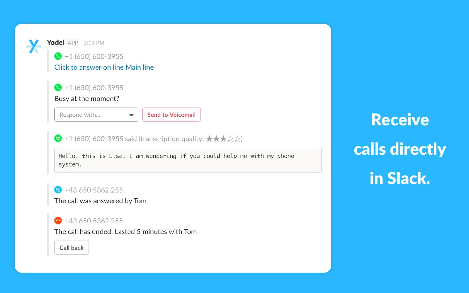 Yodel io Phone System | Slack App Directory