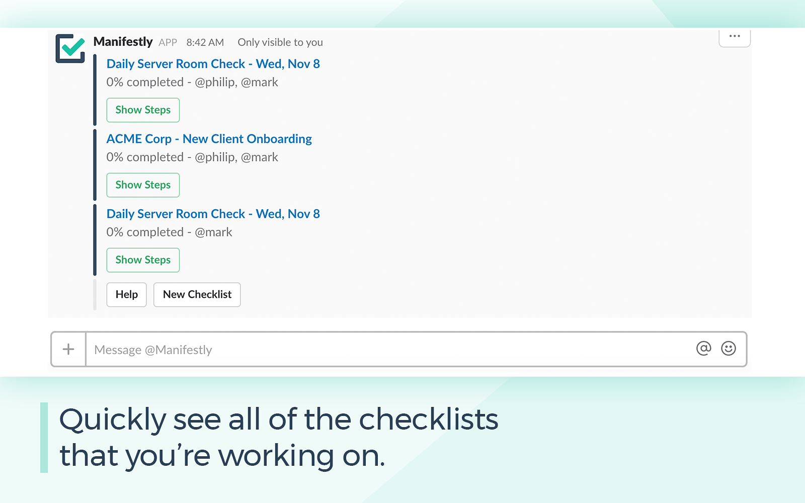 A Checklist For Checklists manifestly checklists and tasks | slack app directory