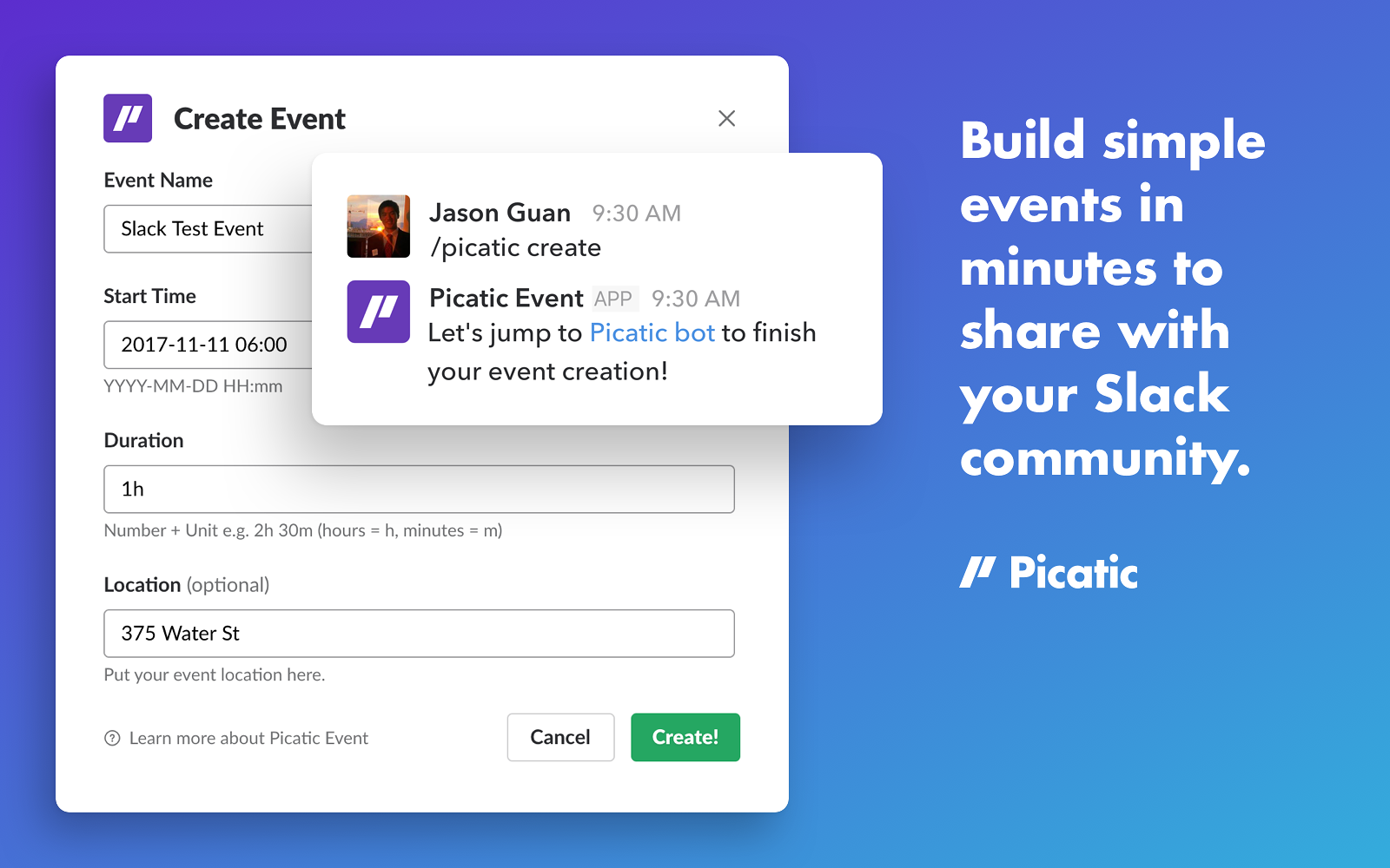 how to create an event in slack