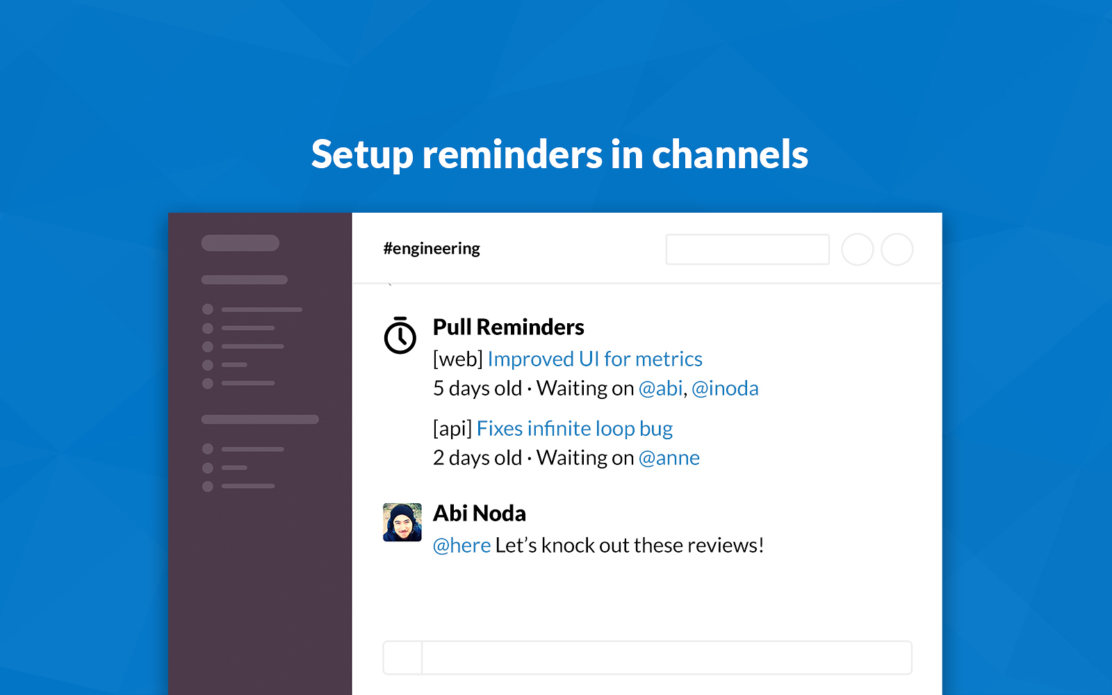 Pull Reminders for GitHub | Slack App Directory