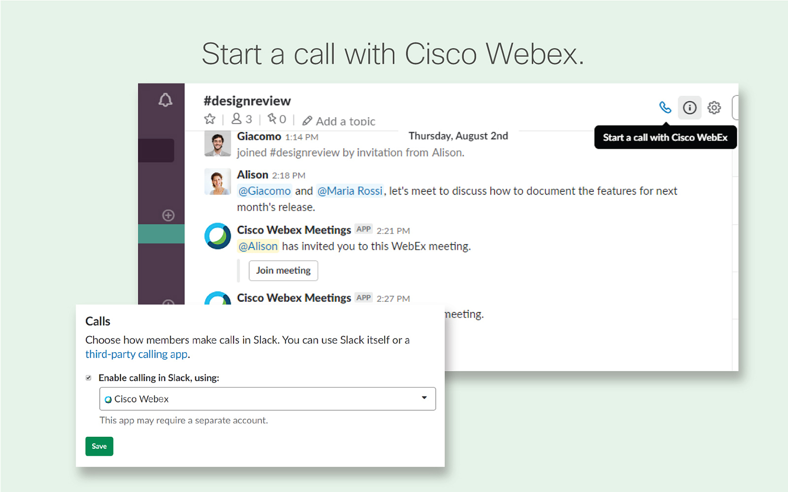 Cisco Webex Meetings | Slack App Directory