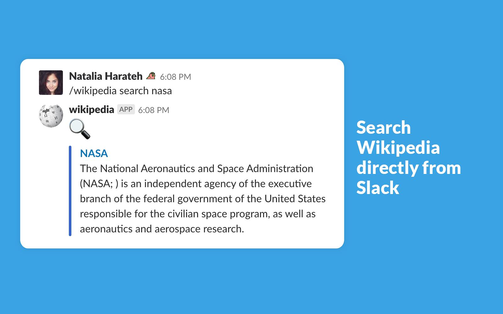 Wikipedia Search for Slack | Slack App Directory