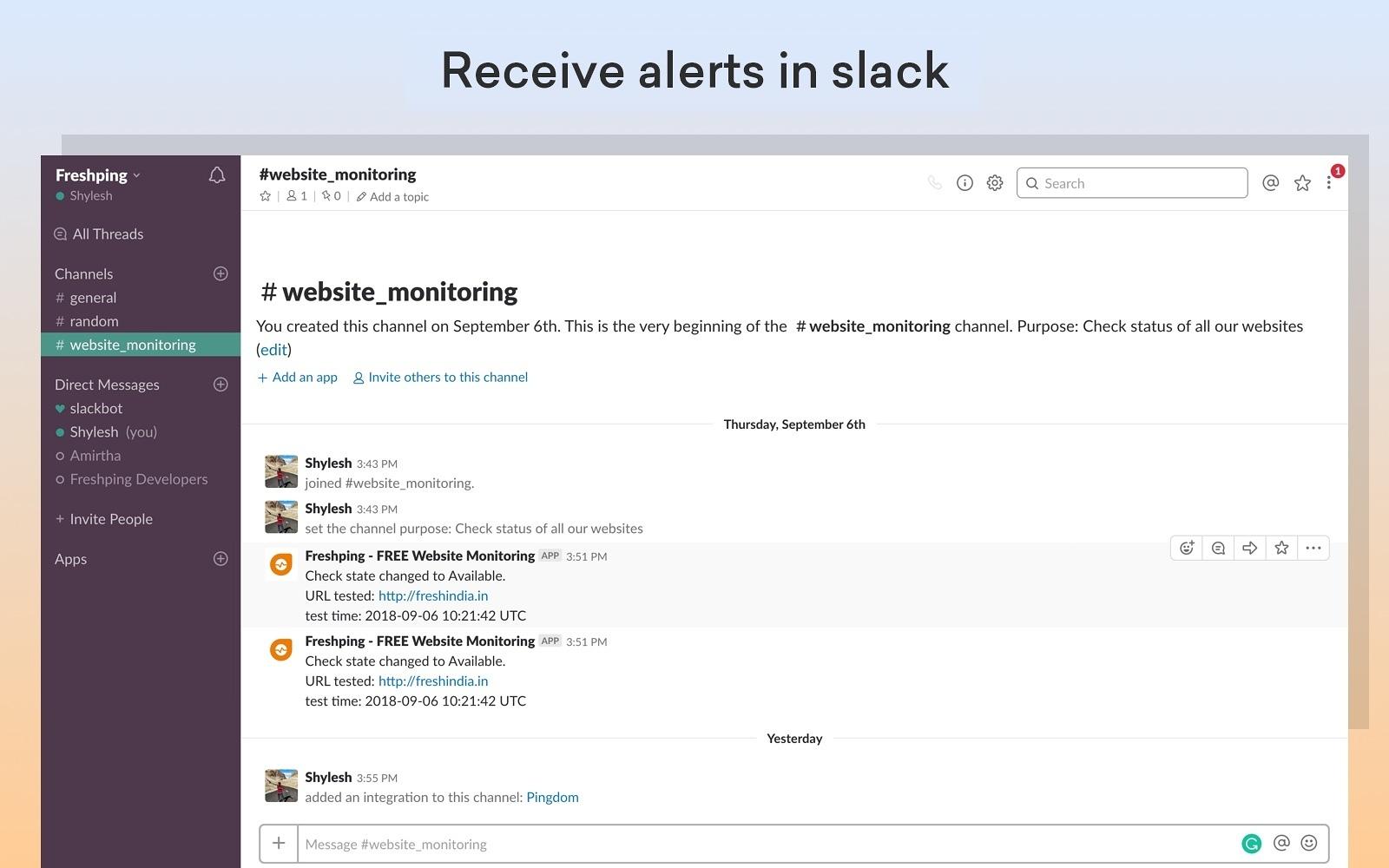 Freshping - FREE Website Monitoring | Slack App Directory