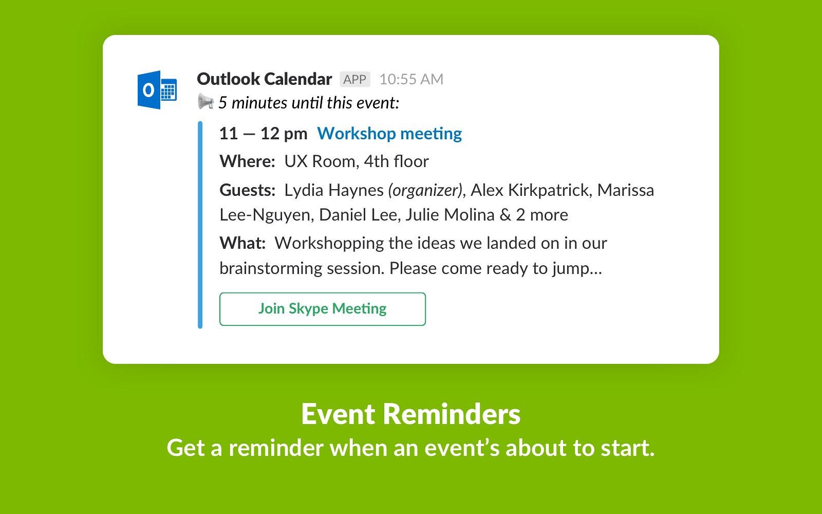 Outlook Calendar | Slack App Directory
