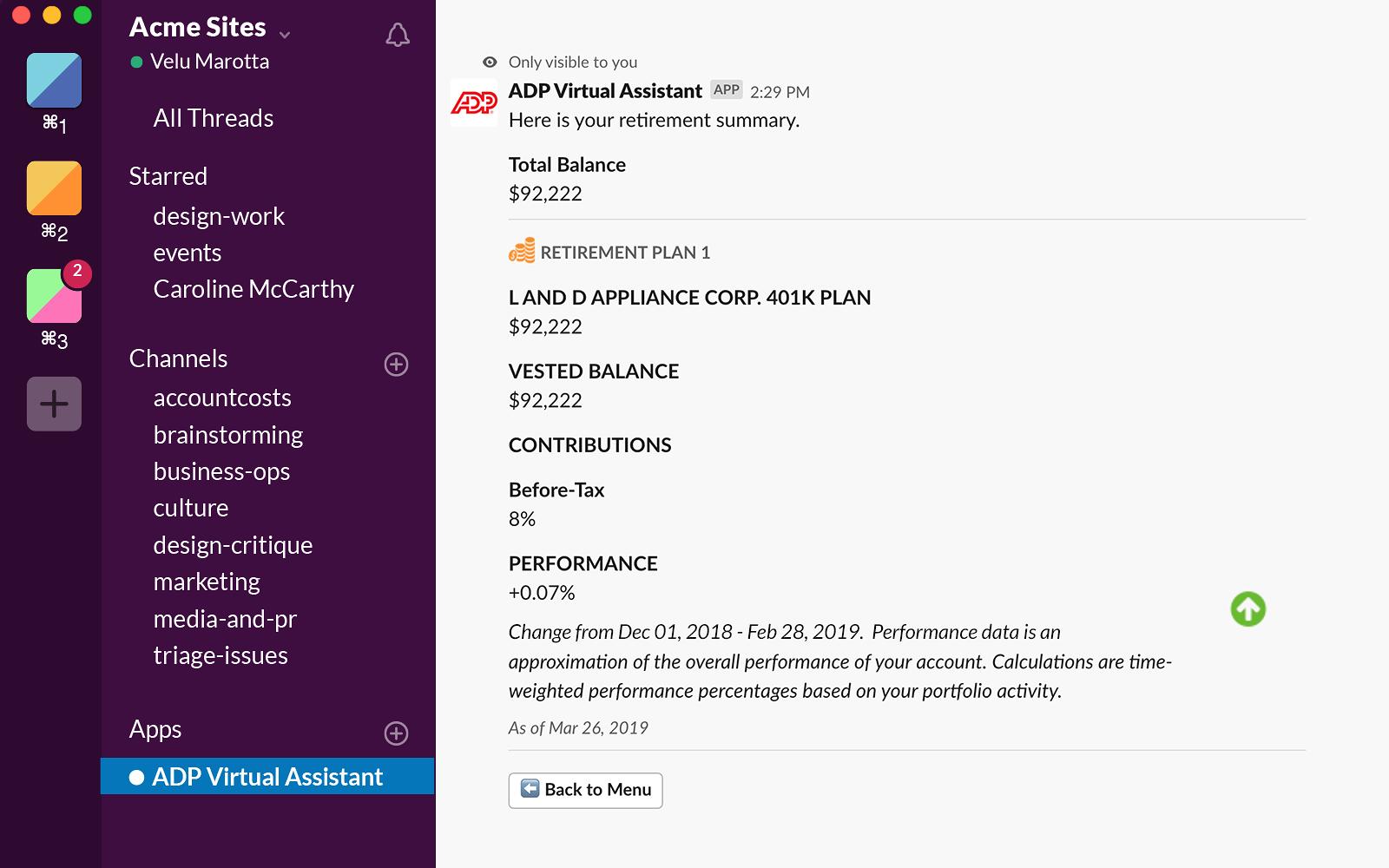 ADP Virtual Assistant   Slack App Directory