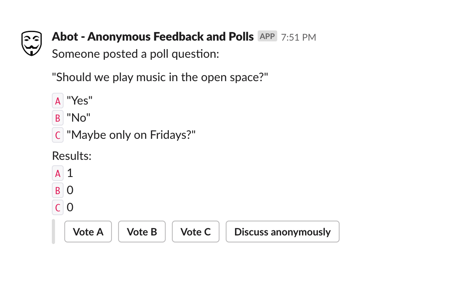 Abot Anonymous Poll and Feedback | Slack App Directory