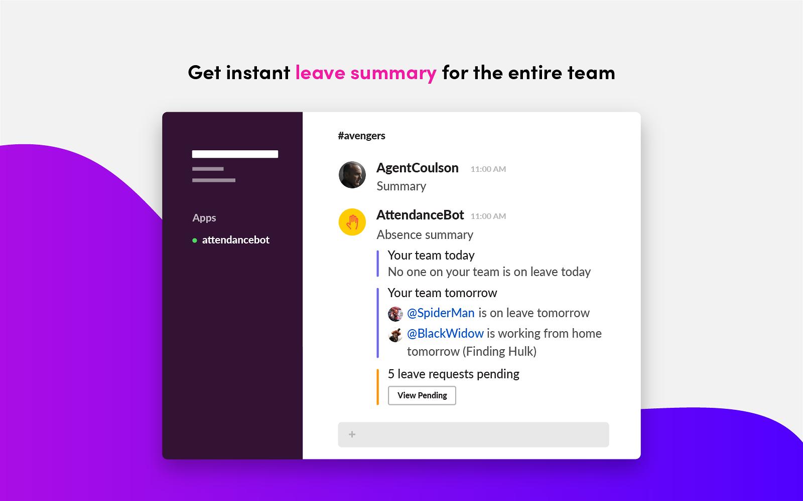 AttendanceBot | Slack App Directory