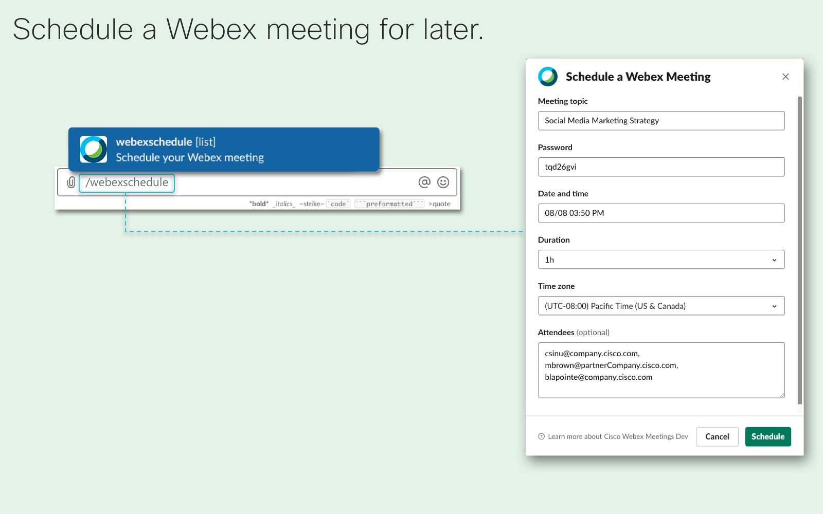 Cisco Webex Meetings   Slack App Directory