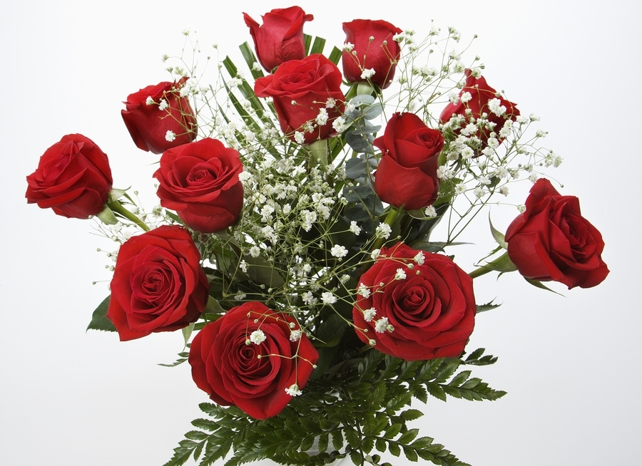 utah weddings flowers - red roses babys breath