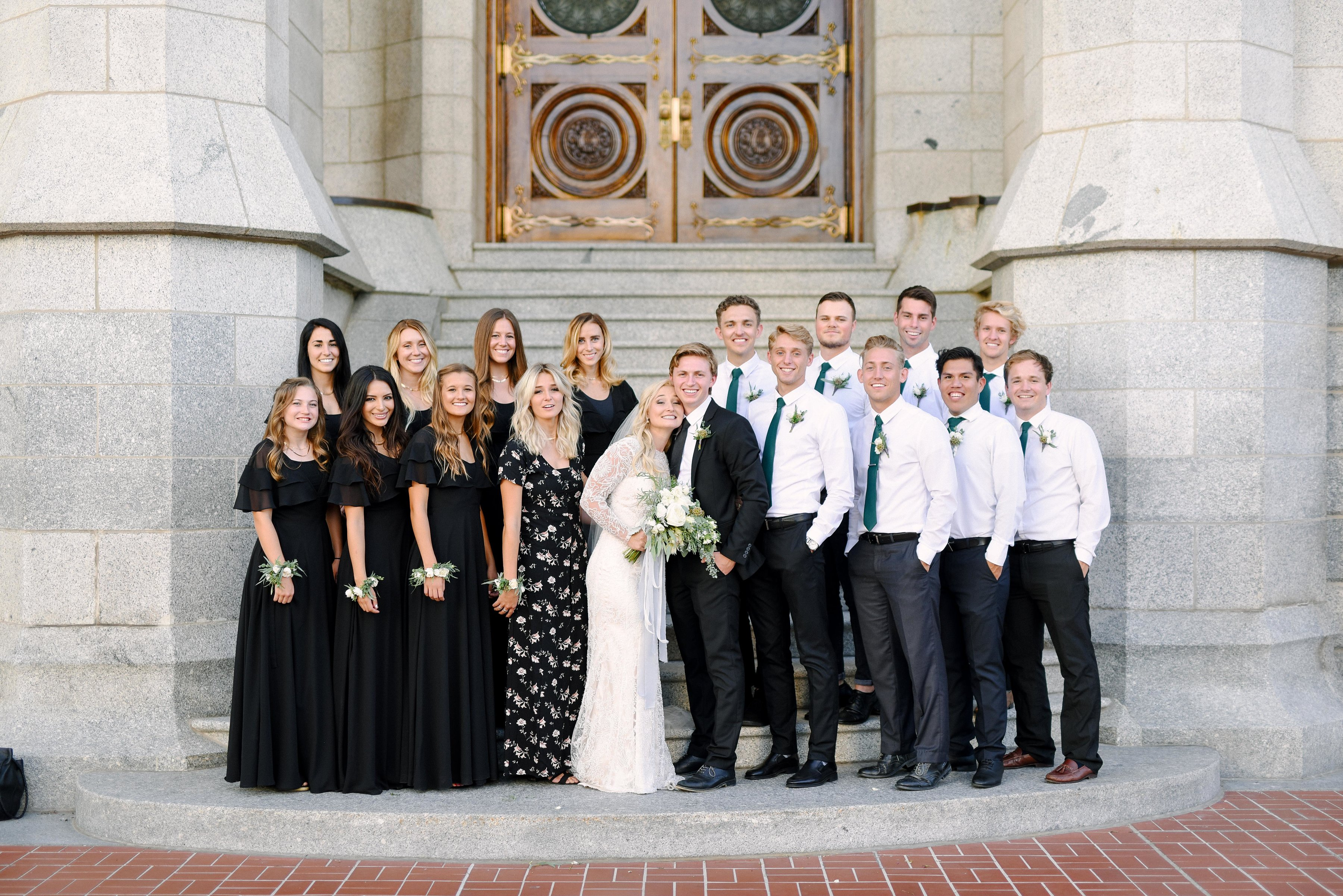 A-Truckers-Love-bride-and-groom-and-family-outside-temple-door