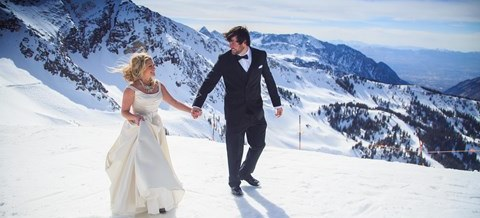 Utah Wedding Venue Snowbird Resort bride and groom winter