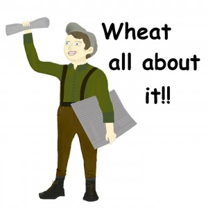 "Washington Grain Commission Newsboy logo for their podcast ""Wheat All About It!"""
