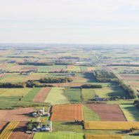 Areal view of farms in Waterloo, Canada.