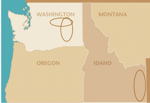 "Dryland Wheat Areas with less than 14"" of annual precipitation in the Pacific Northwest."