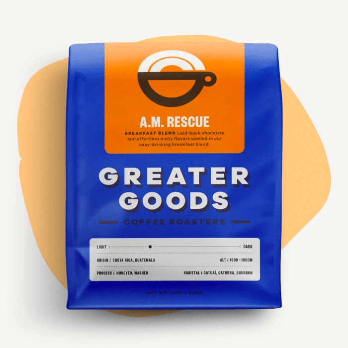 A.M. Rescue - Breakfast Blend from Greater Goods Coffee Co.