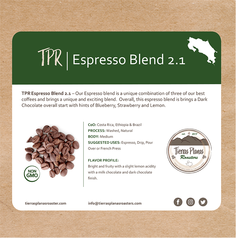 Espresso Blend 2.1 from Tierras Planas Roasters