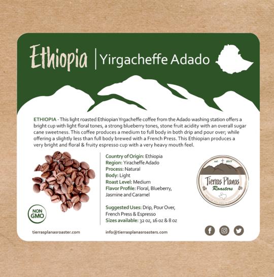 Ethiopia Yirgacheffe Adado from Tierras Planas Roasters
