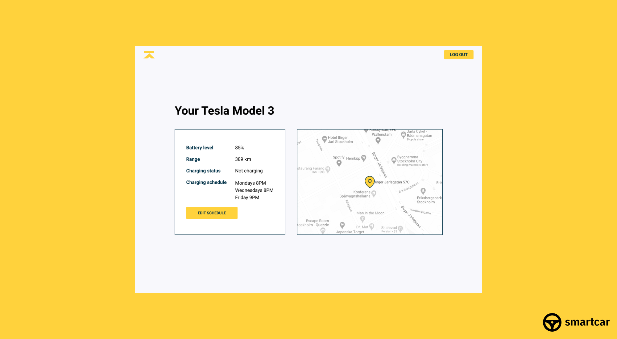 Browser window showing Krafthem web app: map with pinpointed location, battery level, range, charging status, and charging schedule of the customer's Tesla Model 3