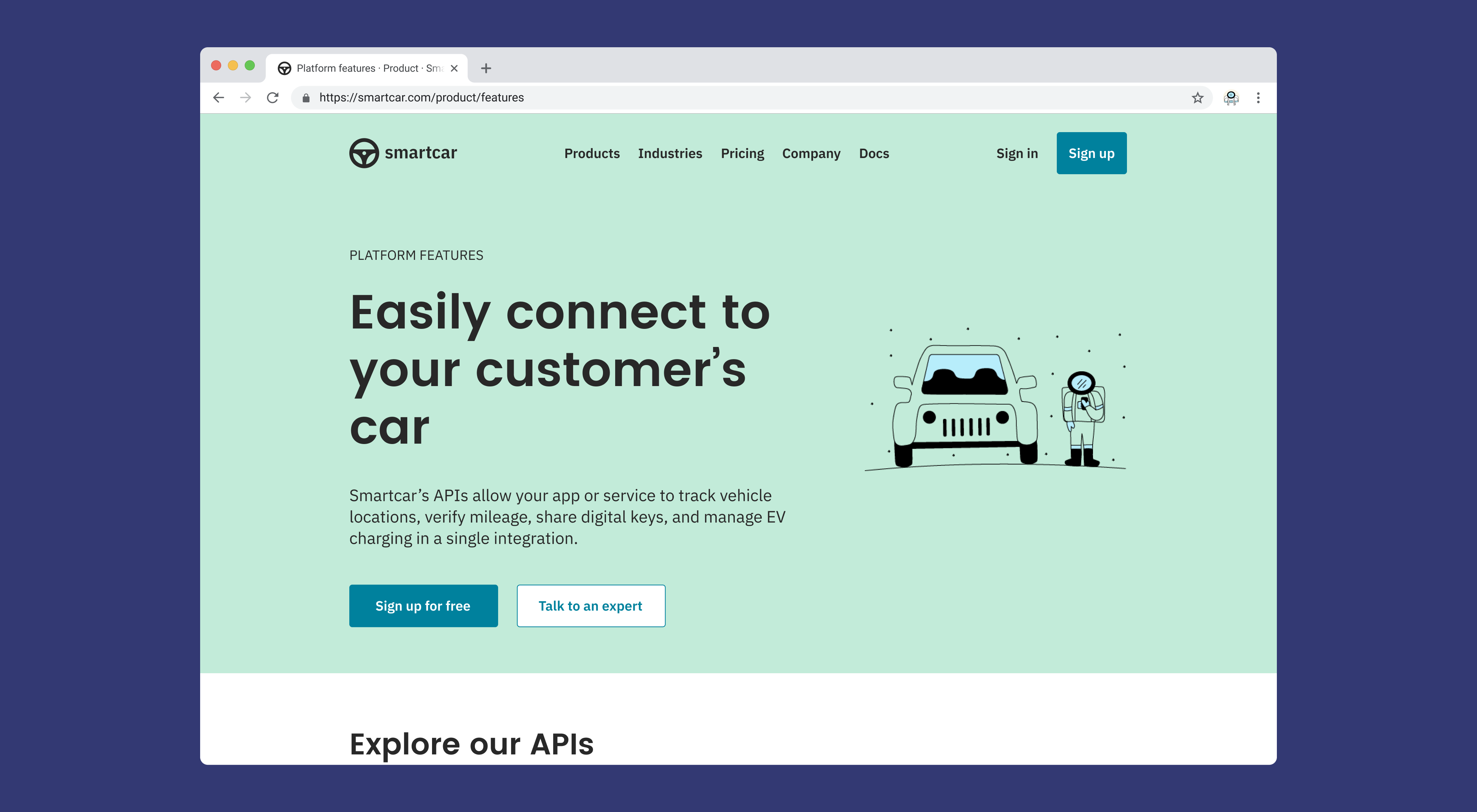 Screenshot of the Smartcar website showing the header of the product features page with a line drawing of an astronaut holding a phone and standing next to a car.