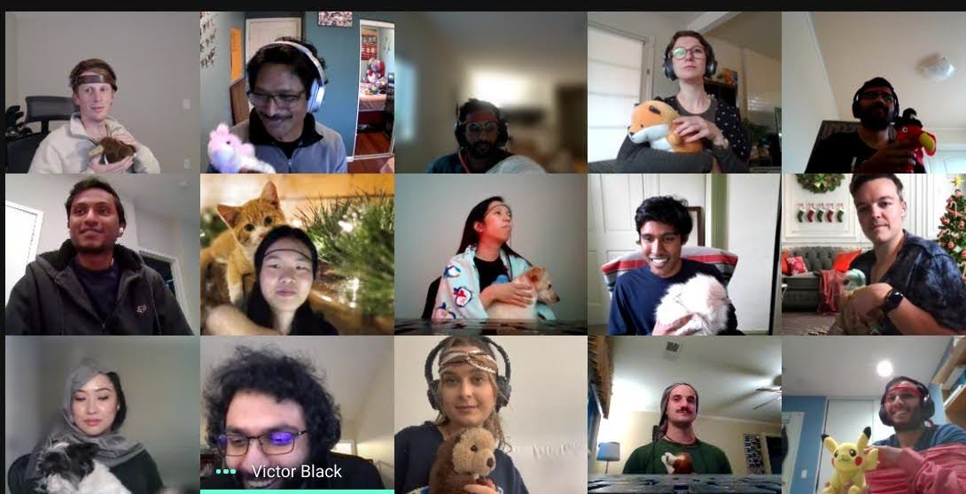 Screenshot of a Google Meet video call with 15 team members on camera, each one dressed up with a headdress and a stuffed animal in their arm.